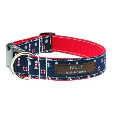 Hundehalsband von Paulis Hundeausstatter   Paulis Ahoi   Leuchtturm   dunkelblau