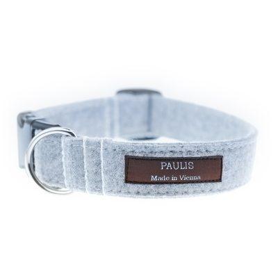 Paulis Hundeausstatter, Hundehalsband aus Loden in Grau