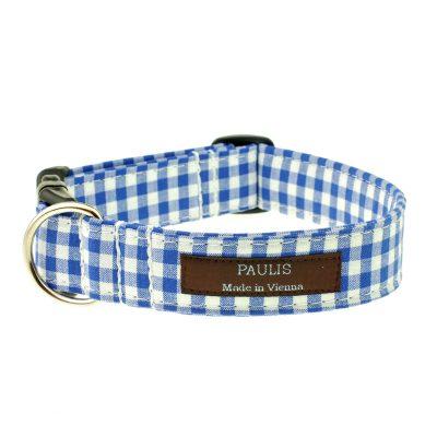 Hundehalsband von Paulis Hundeausstatter | Bauernkaro | azur