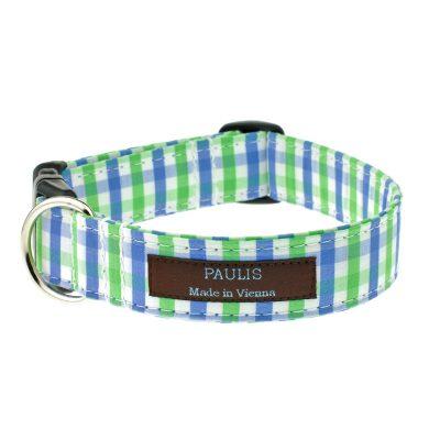 Hundehalsband von Paulis Hundeausstatter | Bauernkaro | blau-gruen