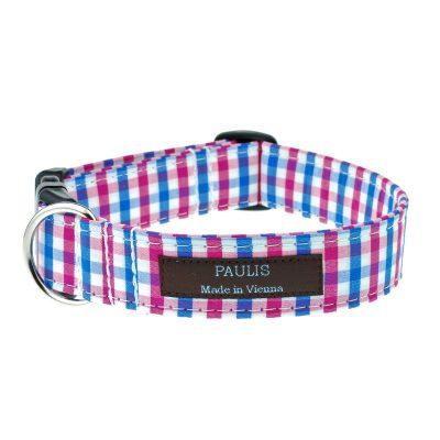 Hundehalsband von Paulis Hundeausstatter | Bauernkaro | blau-pink