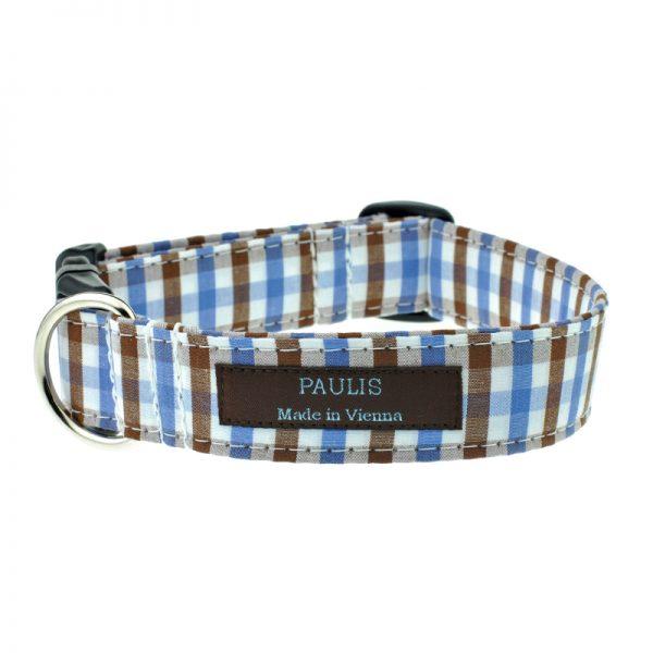 Hundehalsband von Paulis Hundeausstatter | Bauernkaro | braun-blau