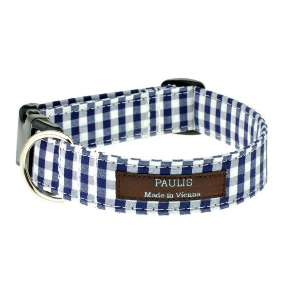 Hundehalsband von Paulis Hundeausstatter | Bauernkaro | dunkelblau