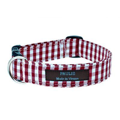 Hundehalsband von Paulis Hundeausstatter | Bauernkaro | dunkelrot