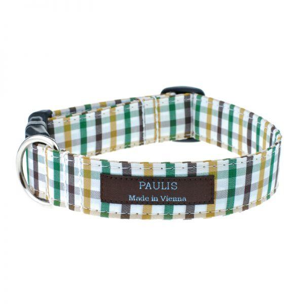 Hundehalsband von Paulis Hundeausstatter | Bauernkaro | grien-braun-ocker
