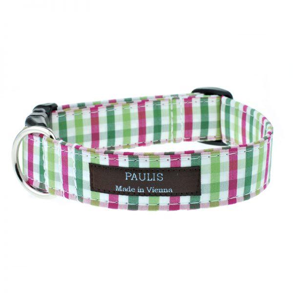 Hundehalsband von Paulis Hundeausstatter | Bauernkaro | gruen-pink