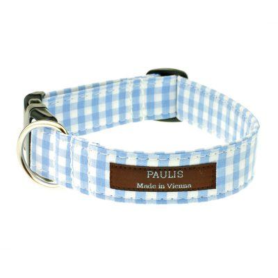 Hundehalsband von Paulis Hundeausstatter | Bauernkaro | hellblau