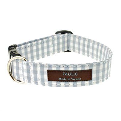 Hundehalsband von Paulis Hundeausstatter | Bauernkaro | hellgrau