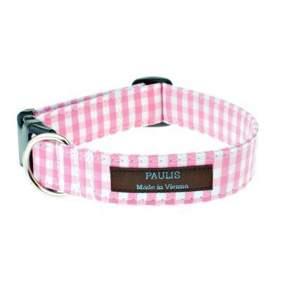 Hundehalsband von Paulis Hundeausstatter | Bauernkaro | rosa