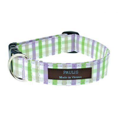 Hundehalsband von Paulis Hundeausstatter | Bauernkaro | violett-gruen-beige