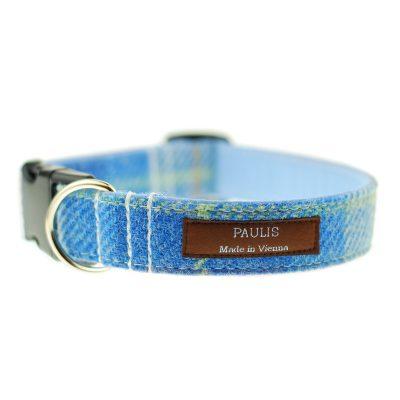 Hundehalsband von Paulis Hundeausstatter | Harris Tweet| blau-gruen