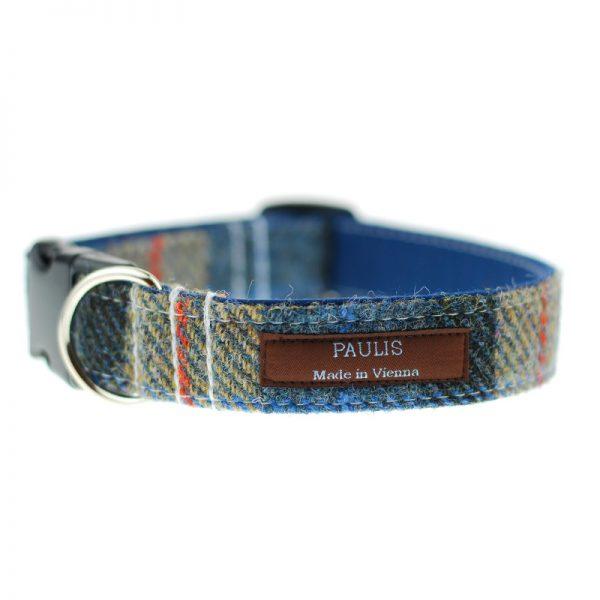 Hundehalsband von Paulis Hundeausstatter   Harris Tweet  braun-blau