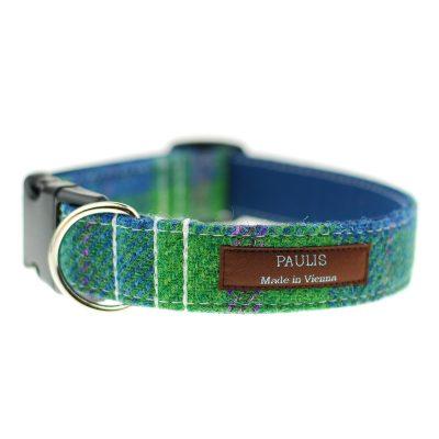 Hundehalsband von Paulis Hundeausstatter | Harris Tweet| gruen-blau