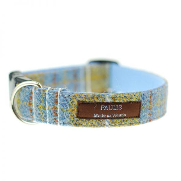 Hundehalsband von Paulis Hundeausstatter | Harris Tweet| ocker-blau