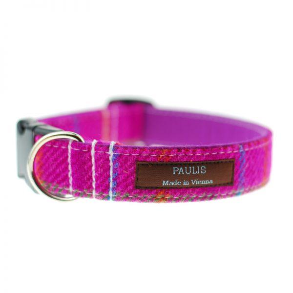 Hundehalsband von Paulis Hundeausstatter   Harris Tweet  pink