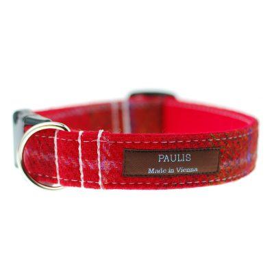 Hundehalsband von Paulis Hundeausstatter | Harris Tweet| rot