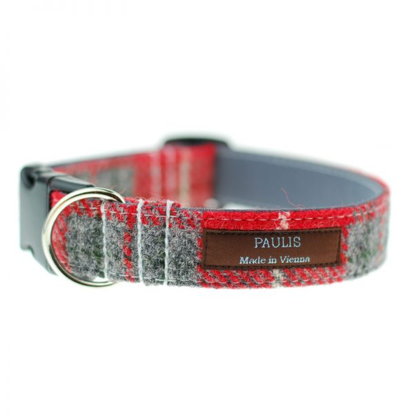 Hundehalsband von Paulis Hundeausstatter | Harris Tweet| rot-grau