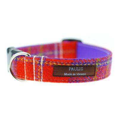 Hundehalsband von Paulis Hundeausstatter | Harris Tweet| rot-violett