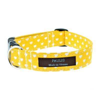 Hundehalsband von Paulis Hundeausstatter | Herzchen-Muster | sonnengelb