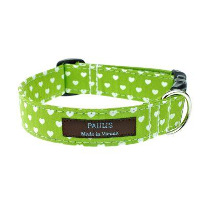 Hundehalsband von Paulis Hundeausstatter | Herzchen-Muster | apfelgrün