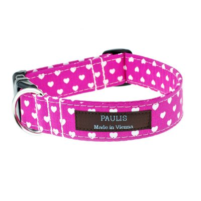 Hundehalsband von Paulis Hundeausstatter | Herzchen-Muster | pink