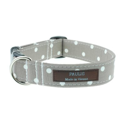 Hundehalsband von Paulis Hundeausstatter | Polka-Dots-Muster | beige