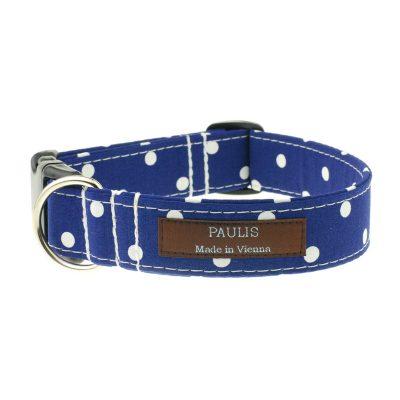 Hundehalsband von Paulis Hundeausstatter | Polka-Dots-Muster | dunkelblau