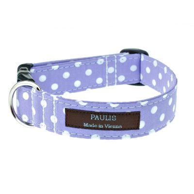 Hundehalsband von Paulis Hundeausstatter | Polka-Dots-Muster | flieder
