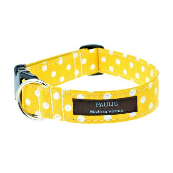 Hundehalsband von Paulis Hundeausstatter | Polka-Dots-Muster | sonnengelb