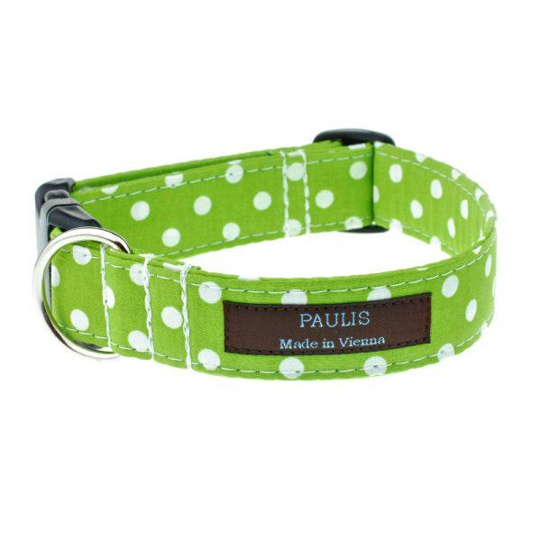 Hundehalsband von Paulis Hundeausstatter | Polka-Dots-Muster | apfelgrün