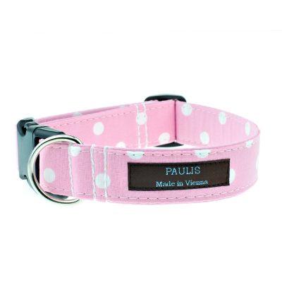 Hundehalsband von Paulis Hundeausstatter | Polka-Dots-Muster | rosa