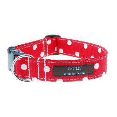 Hundehalsband von Paulis Hundeausstatter | Polka-Dots-Muster | kirschrot
