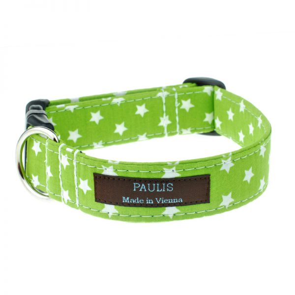 Hundehalsband von Paulis Hundeausstatter | Sternchenmuster | apfelgruen