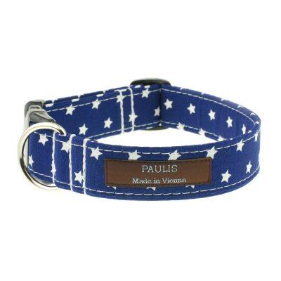 Hundehalsband von Paulis Hundeausstatter | Sternchenmuster | dunkelblau