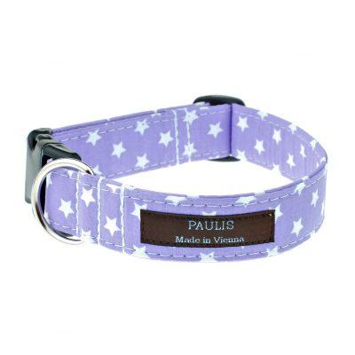 Hundehalsband von Paulis Hundeausstatter | Sternchenmuster | flieder