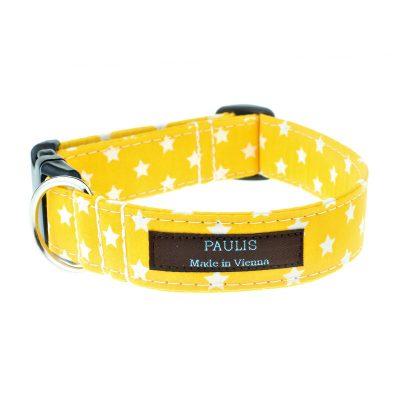 Hundehalsband von Paulis Hundeausstatter | Sternchenmuster | sonnengelb