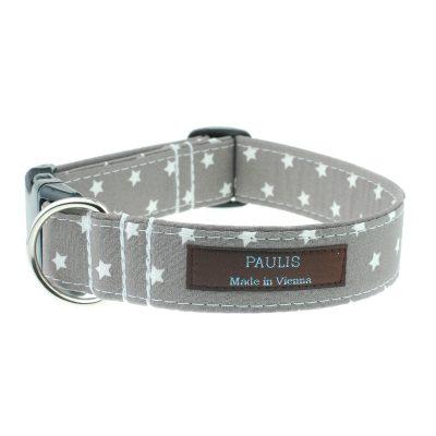Hundehalsband von Paulis Hundeausstatter | Sternchenmuster | hellgrau