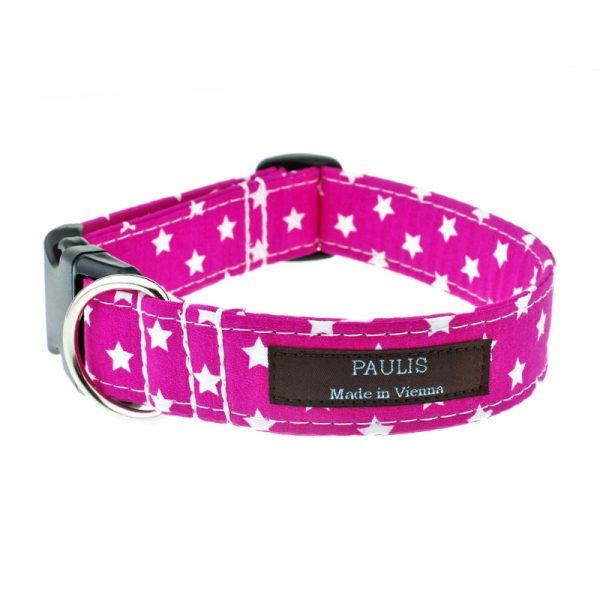 Hundehalsband von Paulis Hundeausstatter   Sternchenmuster   pink