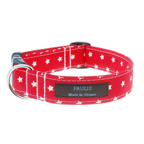 Hundehalsband von Paulis Hundeausstatter   Sternchenmuster   feuerrot