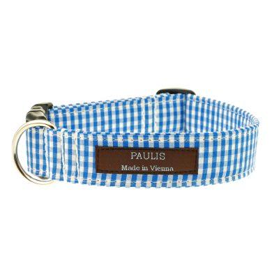 Hundehalsband von Paulis Hundeausstatter | Vichy-Karo | Azur