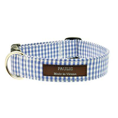 Hundehalsband von Paulis Hundeausstatter | Vichy-Karo | Blau