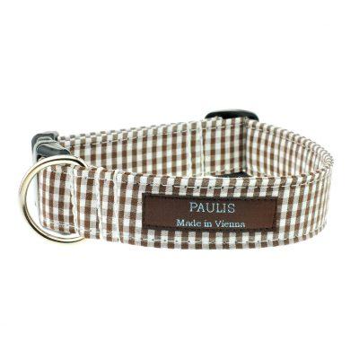 Hundehalsband von Paulis Hundeausstatter | Vichy-Karo | Braun