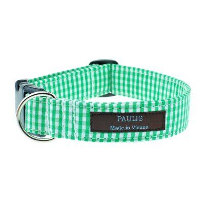 Hundehalsband von Paulis Hundeausstatter | Vichy-Karo | froschgruen