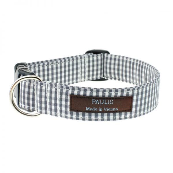 paulis-hundeausstatter-halsband-vichykaro | grau