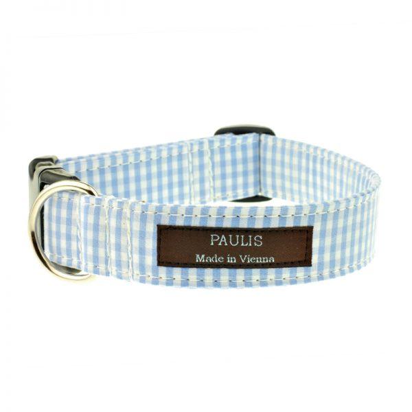 Hundehalsband von Paulis Hundeausstatter   Vichy-Karo   Hellblau