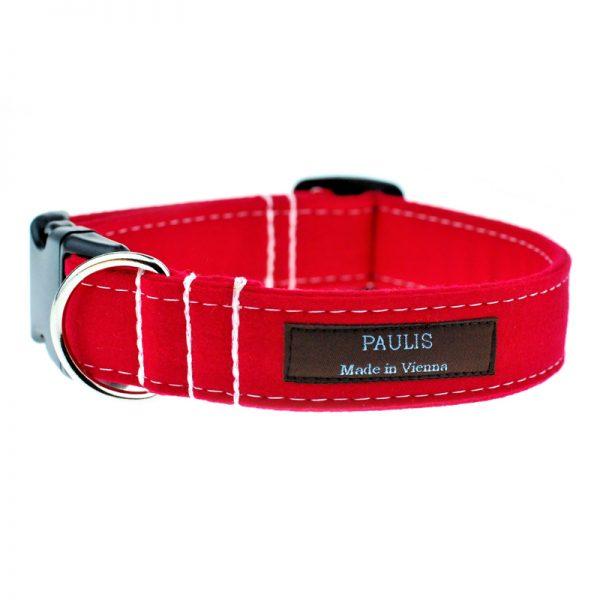 Paulis Hundeausstatter, Hundehalsband aus Loden in Rot
