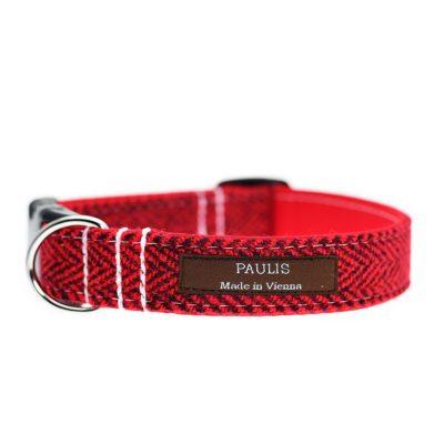 Hundehalsband von Paulis Hundeausstatter aus Harris Tweed in Fischgrät Rot-Schwarz