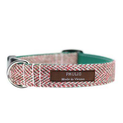Hundehalsband von Paulis Hundeausstatter aus Harris Tweed in Fischgrät Grün-Rot