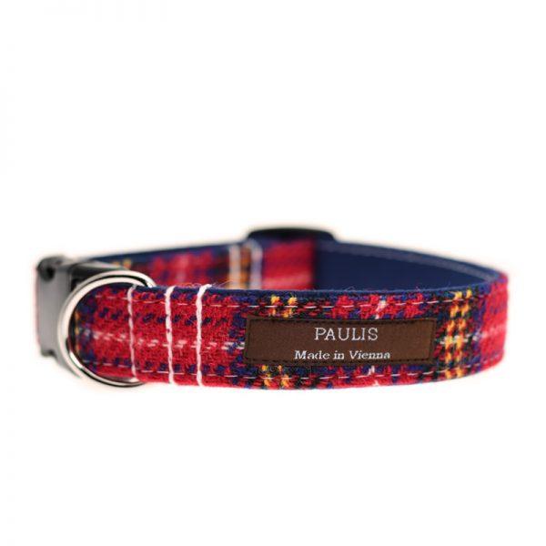 Hundehalsband von Paulis Hundeausstatter aus Harris Tweed in Rot-Blau