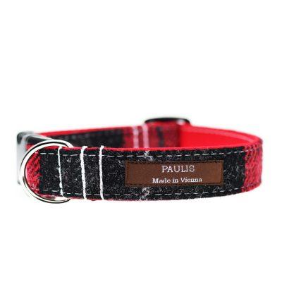 Hundehalsband von Paulis Hundeausstatter aus Harris Tweed in Schwarz-Rot